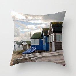 Beach Huts at Hengistbury Head Dorset England Throw Pillow