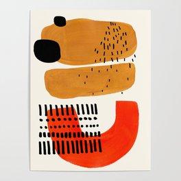 Mid Century Modern Abstract Minimalist Retro Vintage Style Fun Playful Ochre Yellow Ochre Orange  Poster