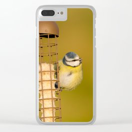 Blue tit on feeder Clear iPhone Case