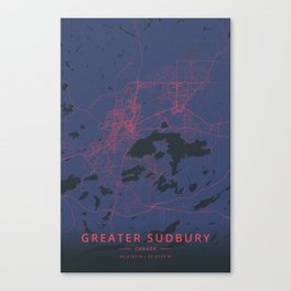 Greater Sudbury, Canada - Neon Canvas Print