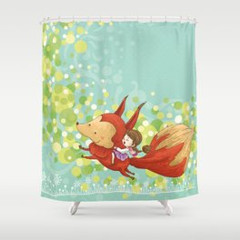The Girl on The Fox Shower Curtain