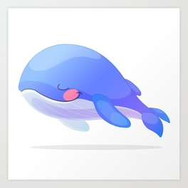 Cute whale. Vector graphic character Art Print