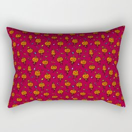 Pattern with dancing pumpkins (on blood red background) Rectangular Pillow