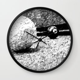 Billiards Art 4 Black and white Wall Clock