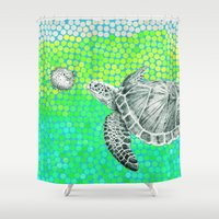 eric fan Shower Curtains featuring New Friends 1 by Eric Fan and Garima Dhawan by Eric Fan