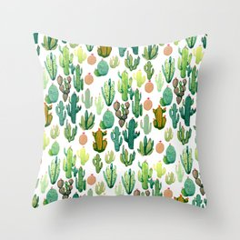 ramdom cactus Throw Pillow