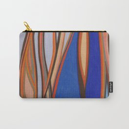 Retro Blues Browns Oranges Line Design with Pastels by annmariescreations Carry-All Pouch