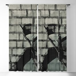Graffiti Street Art from Original Painting by Jodi Tomer. Abstract Black and White Bricks Blackout Curtain