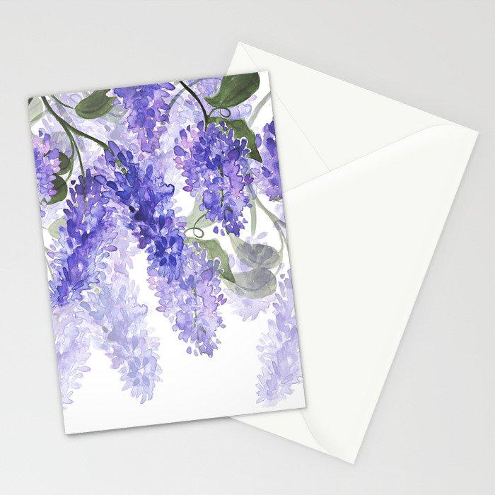 Purple Wisteria Flowers Stationery Cards