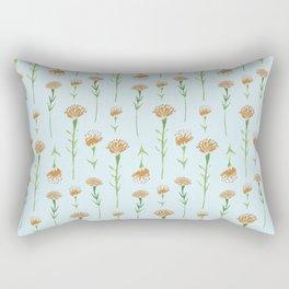 Watercolor Marigolds in Sky Blue Rectangular Pillow