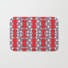Psychedelic Bone Mind Bending Red and Blue Pattern Bath Mat