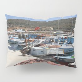 Red Fishing Net and Fishing Boats in Datca Pillow Sham