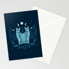 Symmetrical Two Cats Stationery Cards