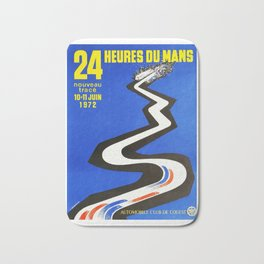 1972 Le Mans poster, car poster, race poster, t-shirt Bath Mat