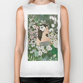 She Surrounded Herself With Flowers Biker Tank