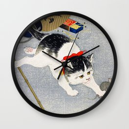 Ohara Koson - Lantern and Cat - Digital Remastered Edition Wall Clock