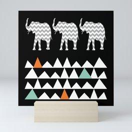 Tribal Elephants, Aztec Andes Pattern Mini Art Print