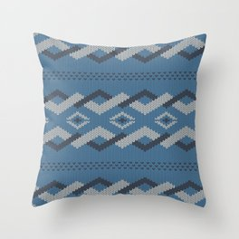 Knitty (Knitted Blue Zigzag Ornament) Throw Pillow