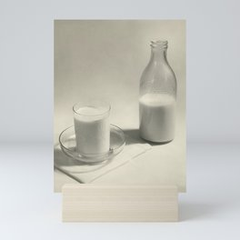 Vintage Milk Bottle and Saucer and Glass of Milk black and white photograph - photography Mini Art Print