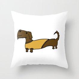 Dacshund with Sweater Throw Pillow