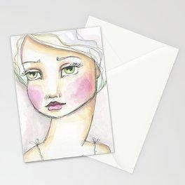 Dreamy Eyed Girl in Sherbert Stationery Cards