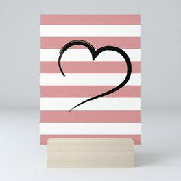 salmon colored stripes with a heart Mini Art Print