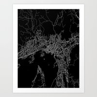 oslo Art Prints featuring Oslo by Line Line Lines