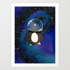 Penguin in Space Art Print
