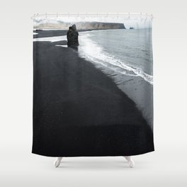 beach of vik in iceland Shower Curtain