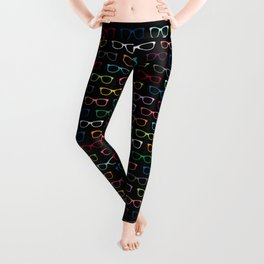 Colorful Hipster Glasses Pattern - Black Leggings