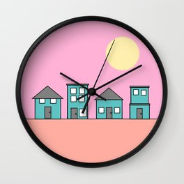Pink Sky - Row of Houses Wall Clock