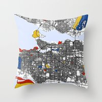 vancouver Throw Pillows featuring Vancouver by Mondrian Maps