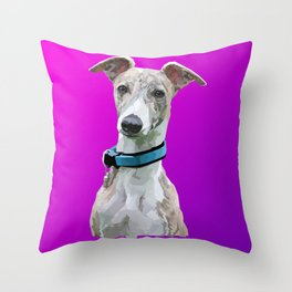 Low Poly Roo (Whippet) Throw Pillow