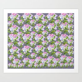 Pink Blue Country Roses Art Print