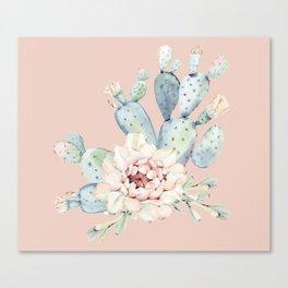 Sweet Pink Rose Desert Cactus Canvas Print