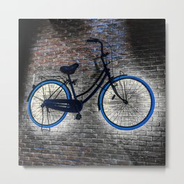 Bicycle On the Wall. Hanging Bicycle. Cycle Metal Print
