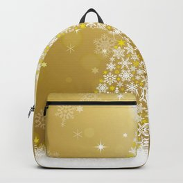Gold Snowflakes Sparkling Christmas Tree Backpack