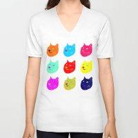 shiba V-neck T-shirts featuring Pop art shiba  by Sylwia Borkowska