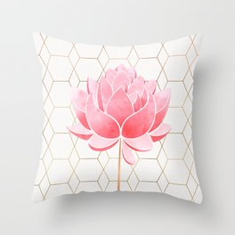 Lotus Blossom - Blush Pink and Metallic Gold Throw Pillow