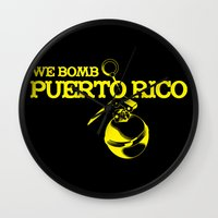 puerto rico Wall Clocks featuring We Bomb Puerto Rico by Grime Lab