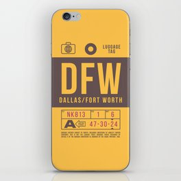 Retro Airline Luggage Tag 2.0 - DFW Dallas Fort Worth Airport USA iPhone Skin