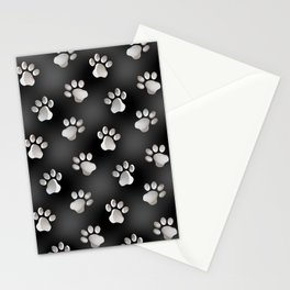 Black and Silver Animal Cat Dog Paw Prints Stationery Cards