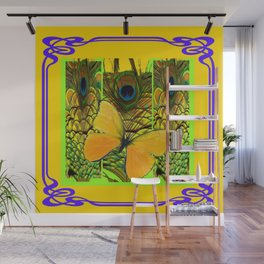 ART NOUVEAU YELLOW BUTTERFLY PEACOCK FEATHERS Wall Mural