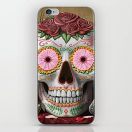 Flora - Sugar Skull with Cactus, Red Roses, Avocado and Papaya iPhone Skin