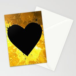 Yellow Watercolor splashed heart texture Stationery Cards