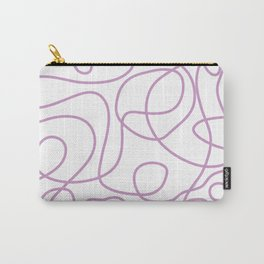 Doodle Line Art   Lavender Purple Lines on White Background Carry-All Pouch