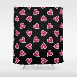 Red pink brush stroke dotty love hearts with 1950s style polka dots Shower Curtain