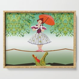 The Umbella girl With crocodile Serving Tray