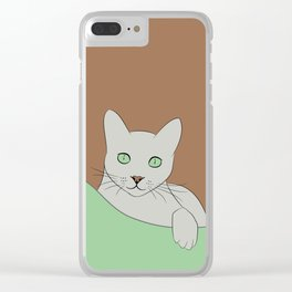 Russin Blue Cat Portrait Clear iPhone Case