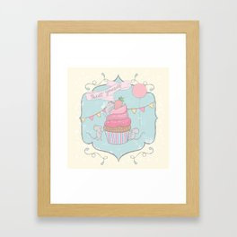 Treat Yourself Cupcake Party Framed Art Print
